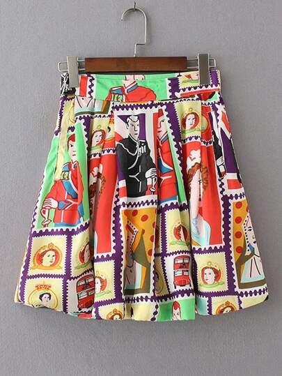 Character Print Flare Skirt