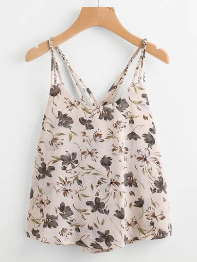 Calico Print Lattice Back Cami Top