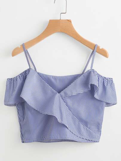 Cold Shoulder Pinstripe Frill Trim Top