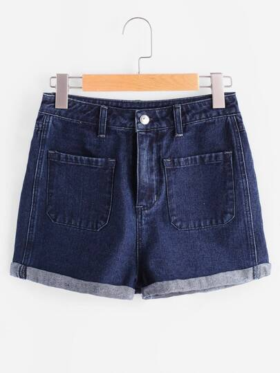 4 Patch Pocket Cuffed Denim Shorts