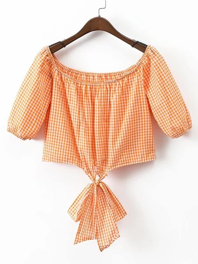 Boat Neckline Grid Knot Front Top