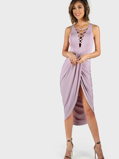 Criss Cross Tulip Dress LAVENDER