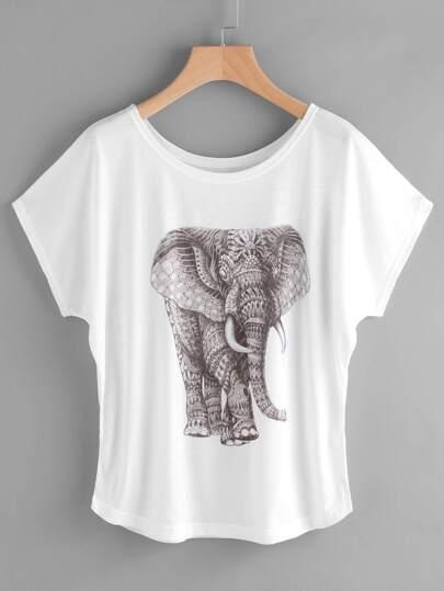 Elephant Print Cap Sleeve Tee