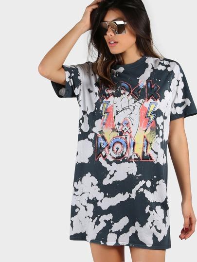Splatter Graphic T-Shirt Dress CHARCOAL