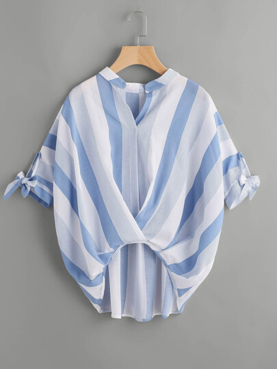 Striped Bow Tie Cuff Dip Hem Top