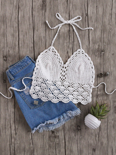 Scallop Hem Crochet Halter Neck Top