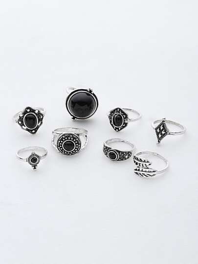 Contrast Gemstone Leaf Ring Pack