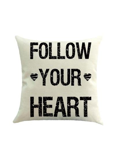 Heart Print Pillowcase Cover