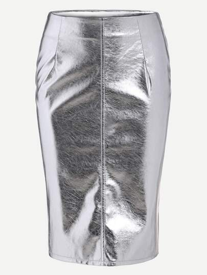 Metallic Silver Faux Suede Zip Side Pencil Skirt