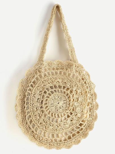 Crochet Scalloped Round Beach Bag