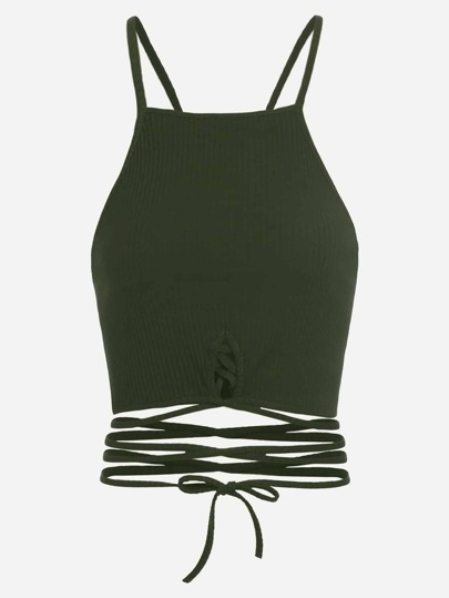 Army Green Lace Up Crop Cami Top