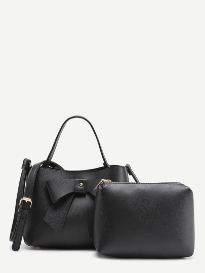 Bow Tie Design PU Shoulder Bag With Clutch Bag