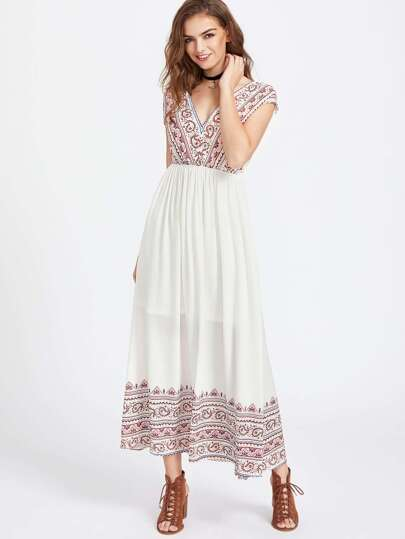 Paisley Print Double V Neck Empire Waist Dress