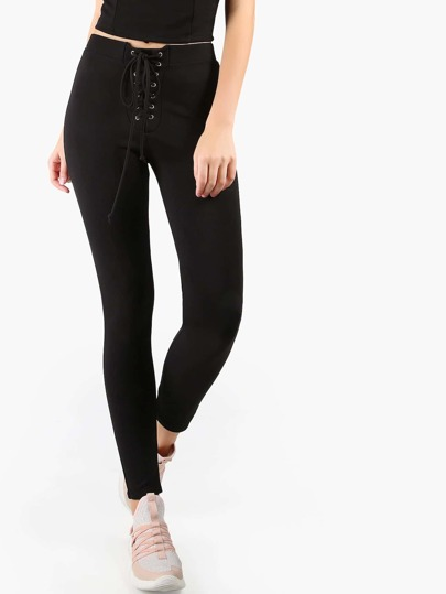 Front Tie Leggings BLACK