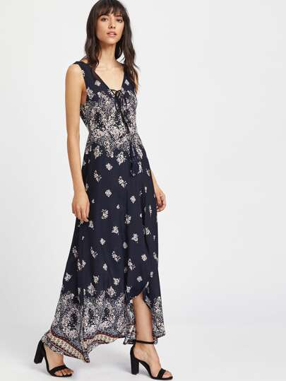 Floral Print Lace Up Plunge Neck Maxi Wrap Dress