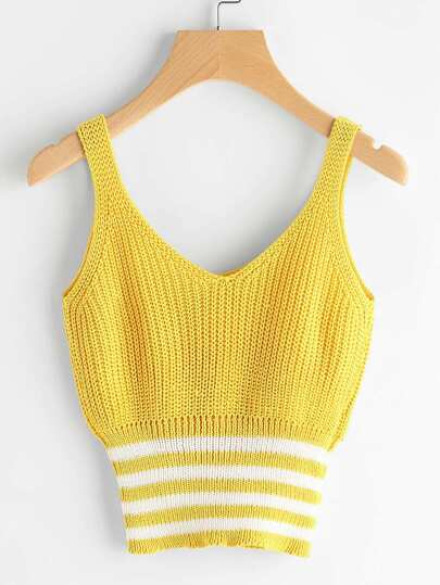 Double V Neck Wide Striped Trim Knit Tank Top