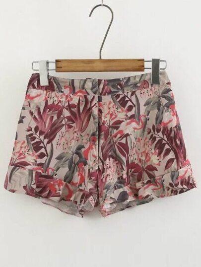 Pantalons floraux en ourlet à volants