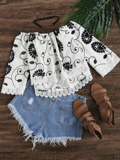 Lace Trim Embroidered Swing Bardot Top