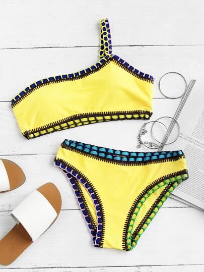 Crochet Trim One Shoulder Bikini Set