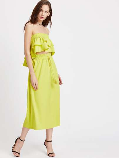 Layered Frill Dip Hem Top With Drawstring Skirt