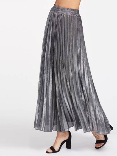 Silver Metal Elastic Waist Pleated Skirt