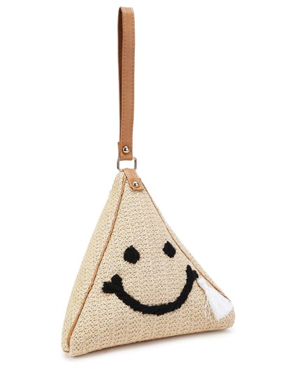 Face Print Triangle Straw Pouch Bag