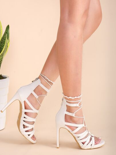 Criss Cross PU Stiletto Sandals