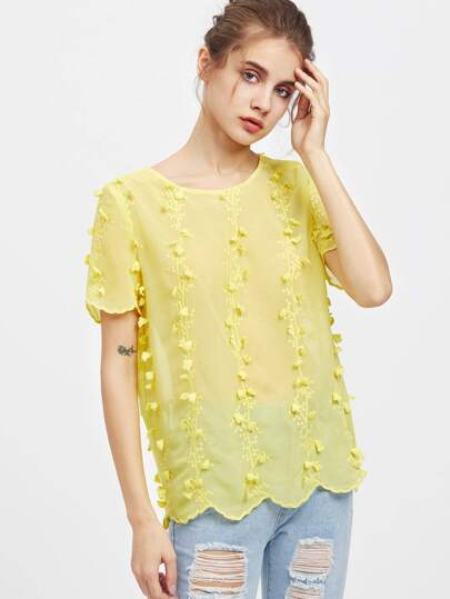 Vine Applique Scallop Edge Embroidered Semi Sheer Top