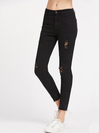 Ripped Raw Cut Skinny Ankle Jeans