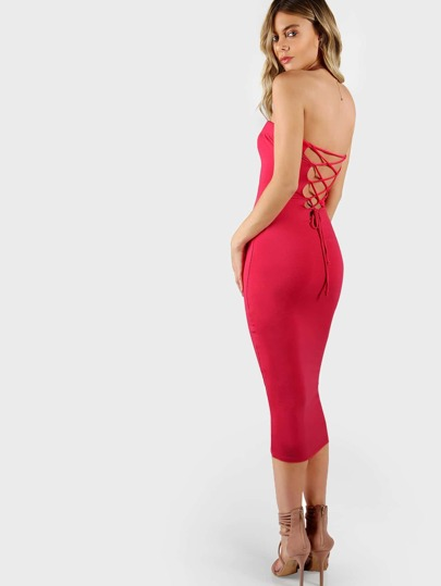 Strapless Lace Up Back Bodycon Dress FUSCIA