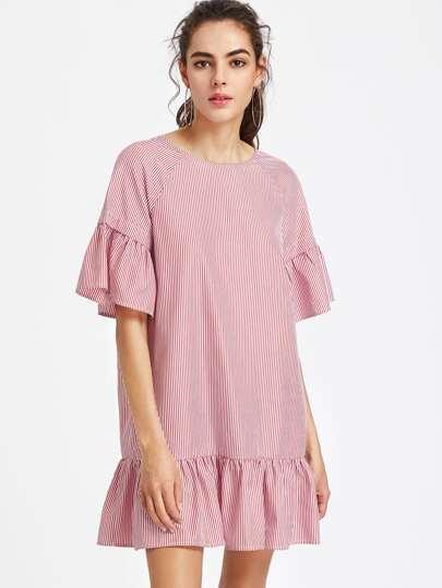 Kleid mit Raglanärmeln, Kreuzgurte V-hinten und Raffung