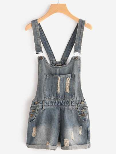 Ripped Cuffed Denim Dungaree Shorts