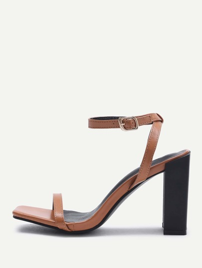 PU Two Part Chunky Heeled Sandals