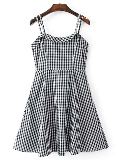 Checkerboard Strappy A Line Dress