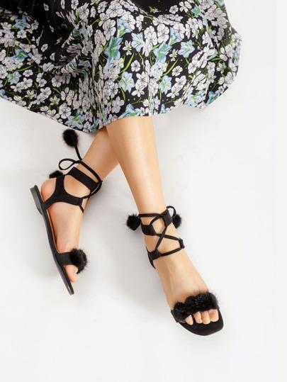 Faux Fur Lace Up Flat Sandals