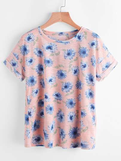 Ditsy Print Drop Shoulder Slub Tee