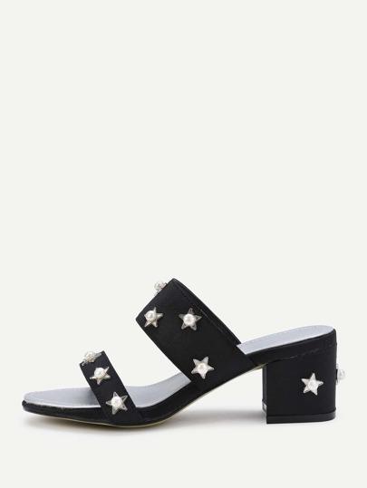 Sandalias de tacón grueso con perla de imitación con estrella