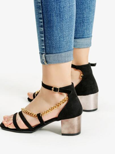 Chain Design Block Heeled Sandals