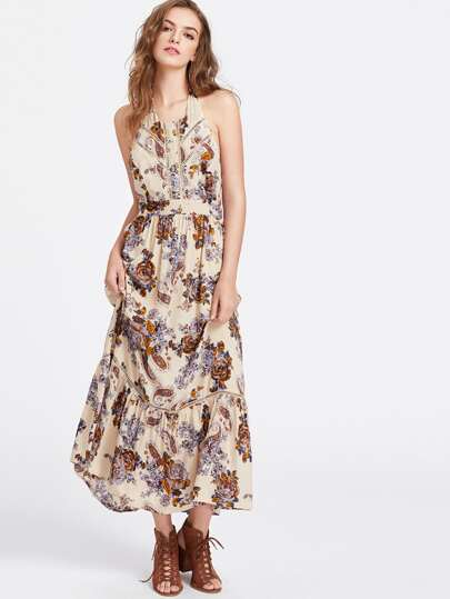 Flower And Paisley Print Lace Insert Halter Neck Dress