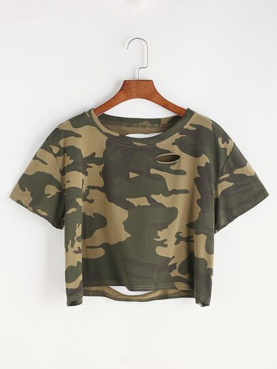 Camo Stampa Ripped Tee