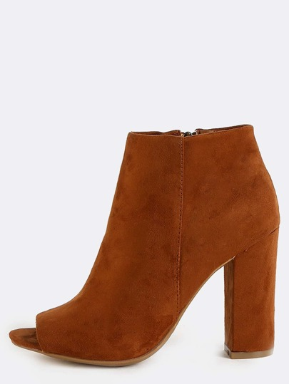 Chunky Heel Faux Suede Ankle Boots CHESTNUT