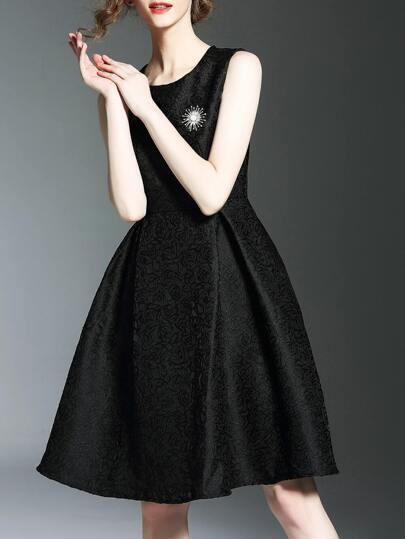 Black Crew Neck Jacquard A-Line Dress