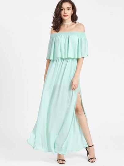 Smocked Off Shoulder High Slit Double Layer Dress