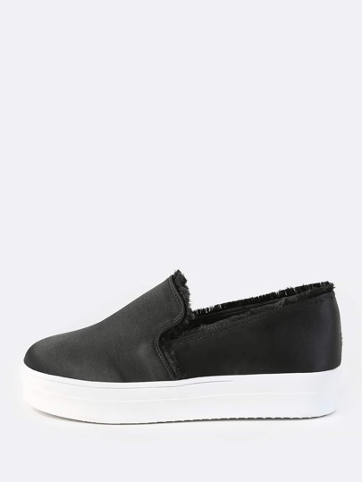 Frayed Satin Flatform Slip Ons BLACK