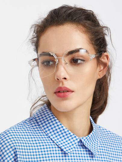 Clear Top Bar Polygon Lens Glasses