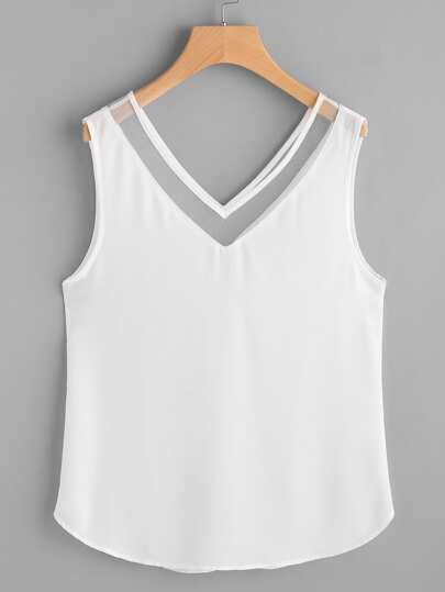 Mesh Double V Neck Curved Tank Top