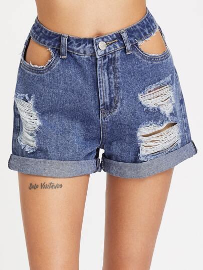 Pantaloncini di jeans con cut-out e strappi