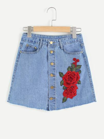Single Breasted Appliques Denim Skirt