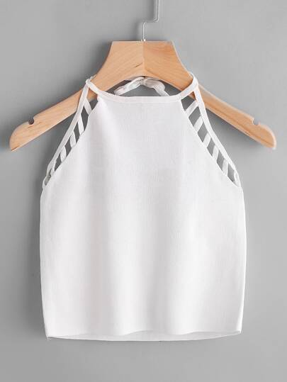 Ladder Cutout Halter Tie Back Top