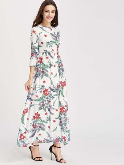 Floral Print Zipper Back Full Length Dress